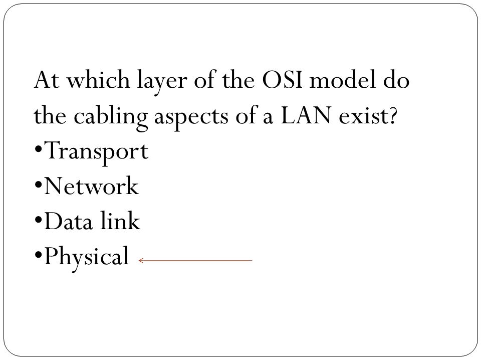 At which layer of the OSI model do the cabling aspects of a LAN exist.