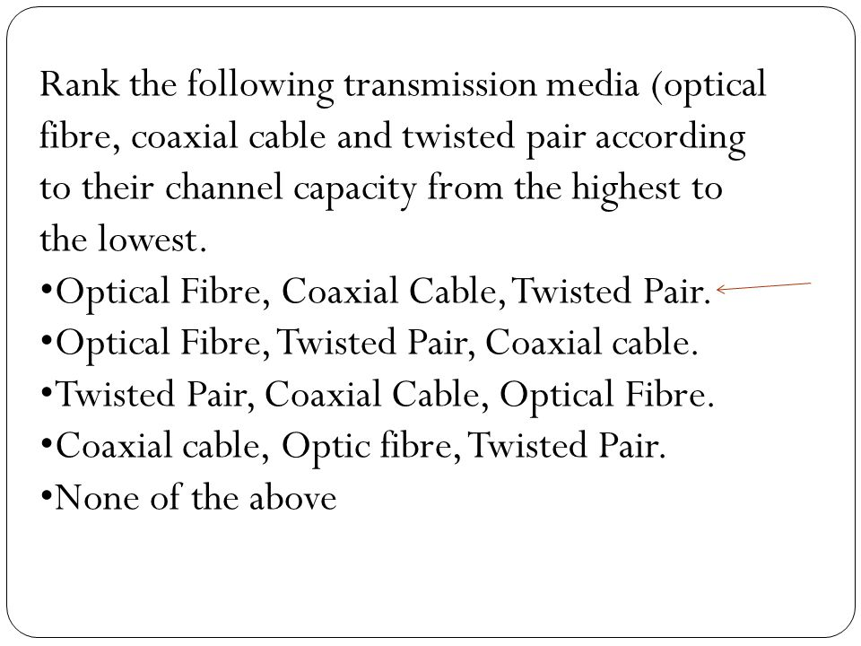 Rank the following transmission media (optical fibre, coaxial cable and twisted pair according to their channel capacity from the highest to the lowest.