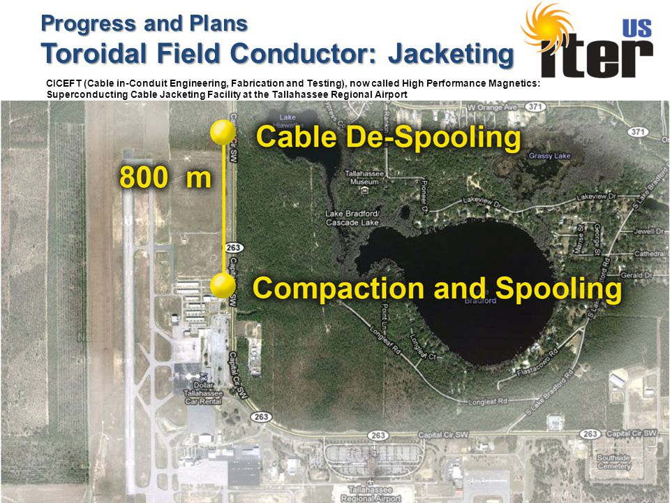 Progress and Plans Toroidal Field Conductor: Jacketing CICEFT (Cable in-Conduit Engineering, Fabrication and Testing), now called High Performance Magnetics: Superconducting Cable Jacketing Facility at the Tallahassee Regional Airport
