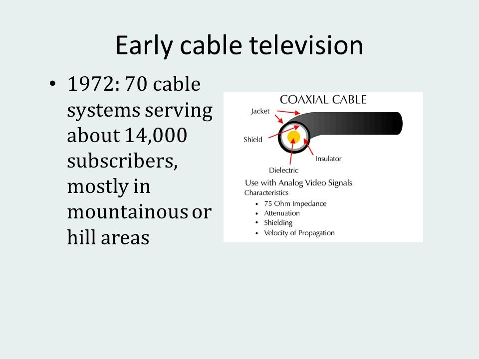 Early cable television 1972: 70 cable systems serving about 14,000 subscribers, mostly in mountainous or hill areas