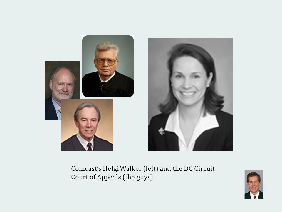 Comcasts Helgi Walker (left) and the DC Circuit Court of Appeals (the guys)