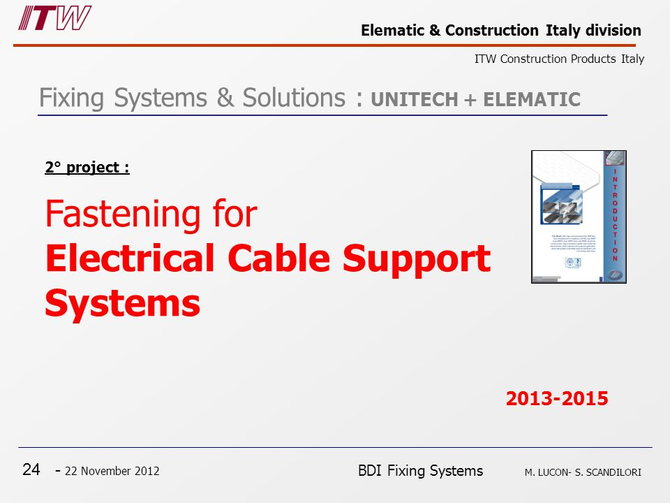 24 - 22 November 2012 Elematic & Construction Italy division ITW Construction Products Italy BDI Fixing Systems M.