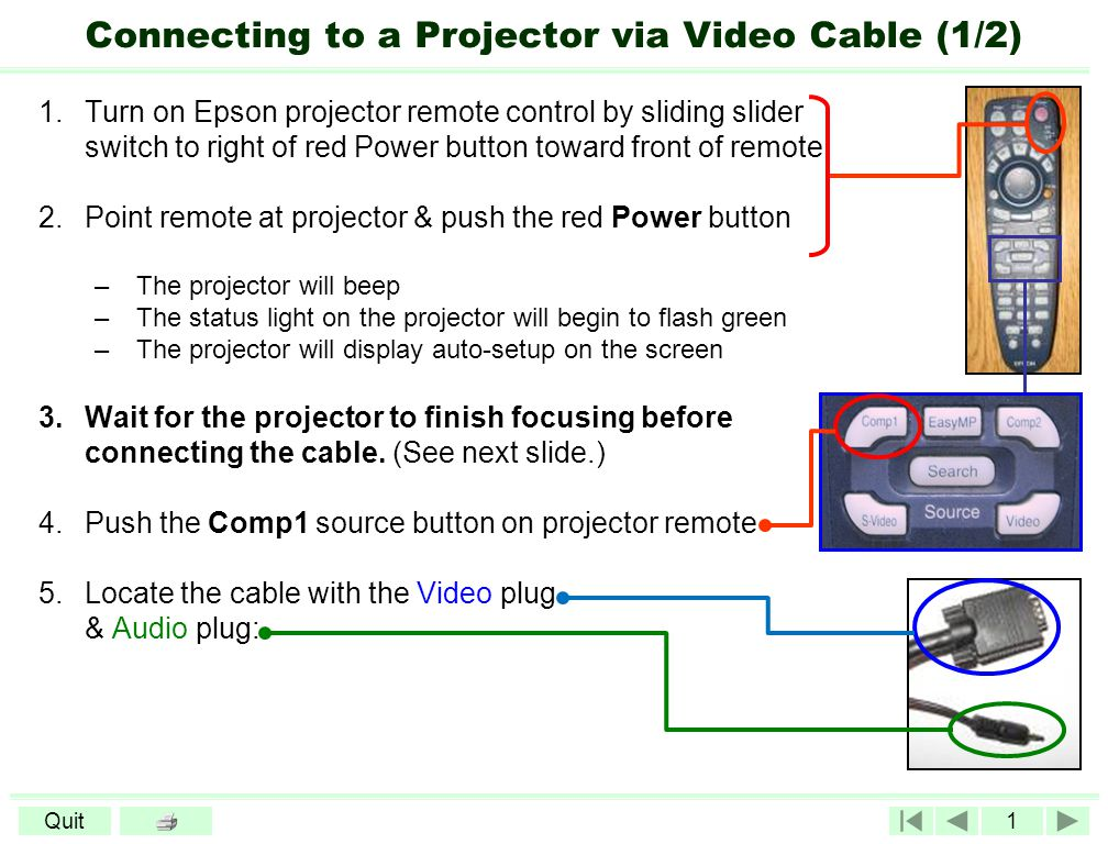 1Quit Connecting to a Projector via Video Cable (1/2) 1.Turn on Epson projector remote control by sliding slider switch to right of red Power button toward front of remote 2.Point remote at projector & push the red Power button –The projector will beep –The status light on the projector will begin to flash green –The projector will display auto-setup on the screen 3.Wait for the projector to finish focusing before connecting the cable.