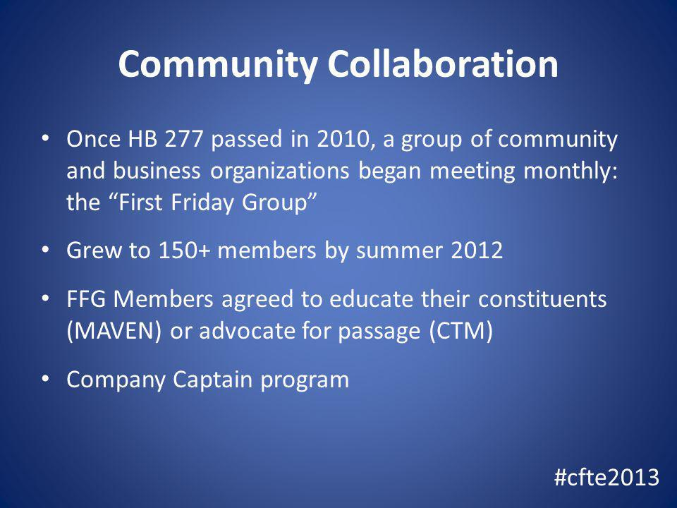 Community Collaboration Once HB 277 passed in 2010, a group of community and business organizations began meeting monthly: the First Friday Group Grew to 150+ members by summer 2012 FFG Members agreed to educate their constituents (MAVEN) or advocate for passage (CTM) Company Captain program #cfte2013