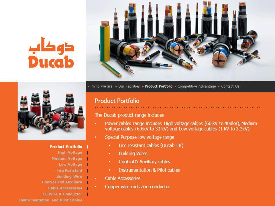 Product Portfolio The Ducab product range includes Power cables range includes High voltage cables (66 kV to 400kV), Medium voltage cables (6.6kV to 33 kV) and Low voltage cables (1 kV to 3.3kV) Special Purpose low voltage range Fire resistant cables (Ducab FR) Building Wires Control & Auxiliary cables Instrumentation & Pilot cables Cable Accessories Copper wire rods and conductor Product Portfolio High Voltage Medium Voltage Low Voltage Fire Resistant Building Wire Control and Auxiliary Cable Accessories Cu Wire & Conductor Instrumentation and Pilot Cables Who we areWho we are Our Facilities Product Portfolio Competitive Advantage Contact UsOur FacilitiesCompetitive AdvantageContact Us