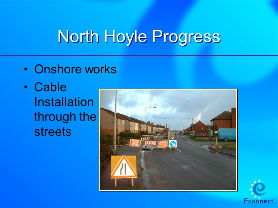 North Hoyle Progress Onshore works Cable Installation through the streets