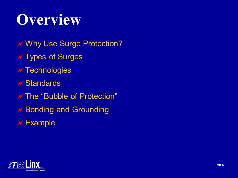 ©2003 Overview Why Use Surge Protection.