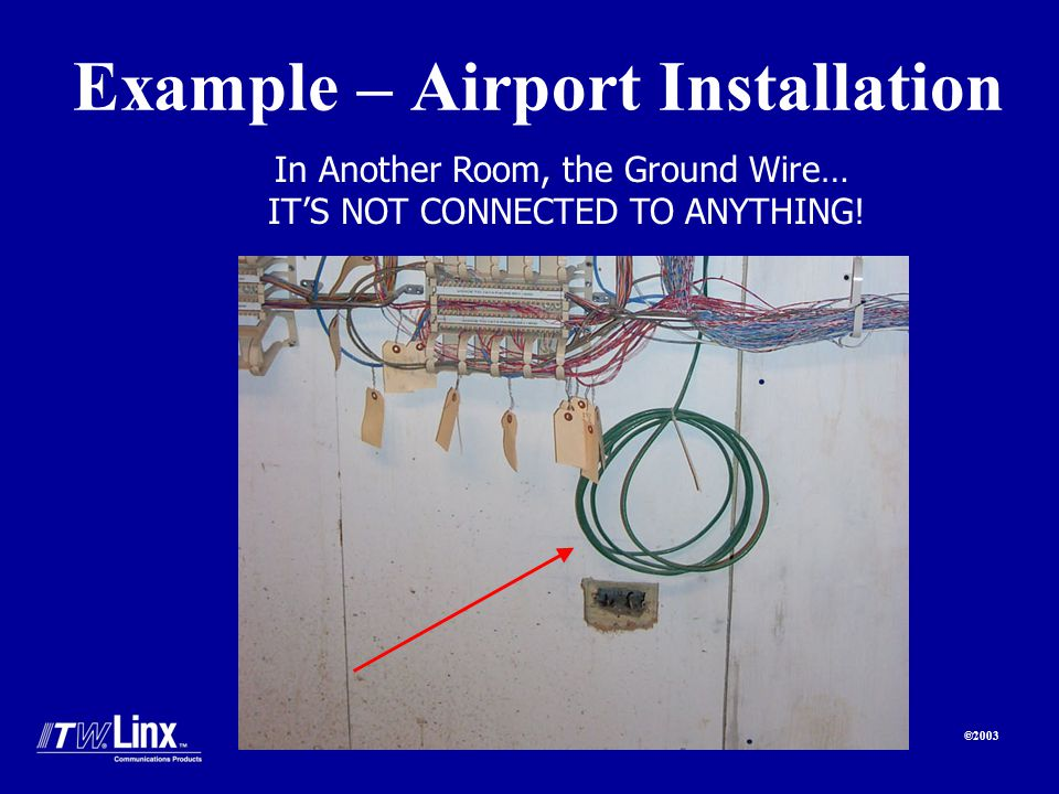 ©2003 Example – Airport Installation In Another Room, the Ground Wire… ITS NOT CONNECTED TO ANYTHING!