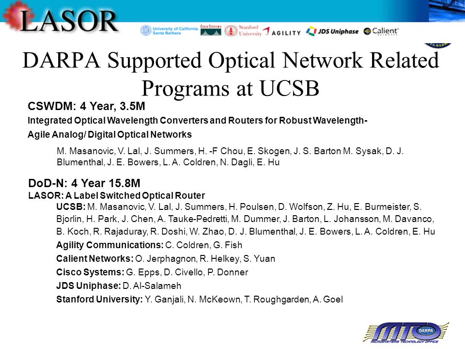 DARPA Supported Optical Network Related Programs at UCSB CSWDM: 4 Year, 3.5M Integrated Optical Wavelength Converters and Routers for Robust Wavelength- Agile Analog/ Digital Optical Networks DoD-N: 4 Year 15.8M LASOR: A Label Switched Optical Router M.