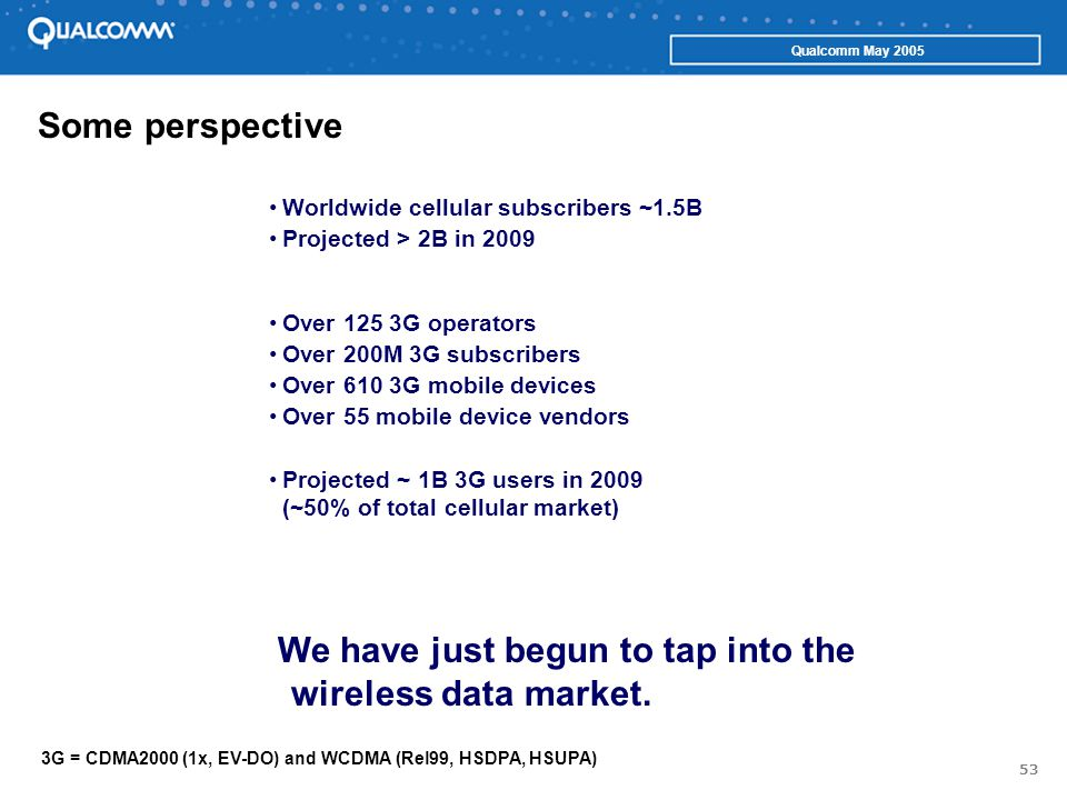 53 Qualcomm May 2005 Some perspective Over 125 3G operators Over 200M 3G subscribers Over 610 3G mobile devices Over 55 mobile device vendors Projected ~ 1B 3G users in 2009 (~50% of total cellular market) 3G = CDMA2000 (1x, EV-DO) and WCDMA (Rel99, HSDPA, HSUPA) Worldwide cellular subscribers ~1.5B Projected > 2B in 2009 We have just begun to tap into the wireless data market.