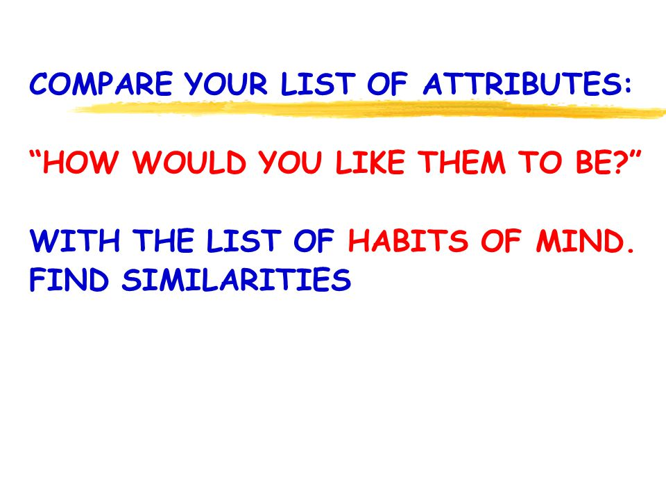 COMPARE YOUR LIST OF ATTRIBUTES: HOW WOULD YOU LIKE THEM TO BE.