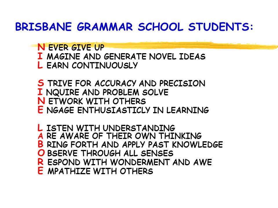 BRISBANE GRAMMAR SCHOOL STUDENTS: N EVER GIVE UP I MAGINE AND GENERATE NOVEL IDEAS L EARN CONTINUOUSLY S TRIVE FOR ACCURACY AND PRECISION I NQUIRE AND PROBLEM SOLVE N ETWORK WITH OTHERS E NGAGE ENTHUSIASTICLY IN LEARNING L ISTEN WITH UNDERSTANDING A RE AWARE OF THEIR OWN THINKING B RING FORTH AND APPLY PAST KNOWLEDGE O BSERVE THROUGH ALL SENSES R ESPOND WITH WONDERMENT AND AWE E MPATHIZE WITH OTHERS