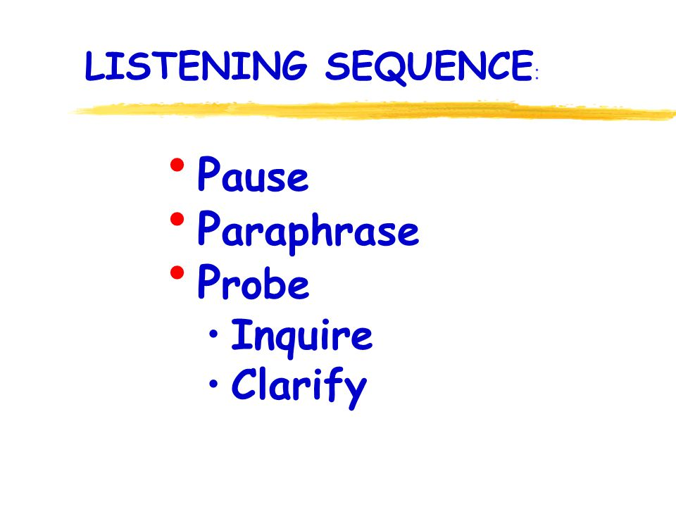 P ause P araphrase P robe Inquire Clarify LISTENING SEQUENCE :