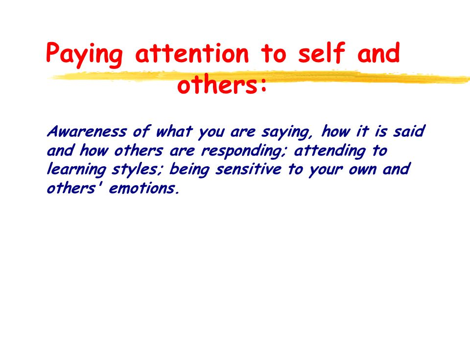 Paying attention to self and others: Awareness of what you are saying, how it is said and how others are responding; attending to learning styles; being sensitive to your own and others emotions.