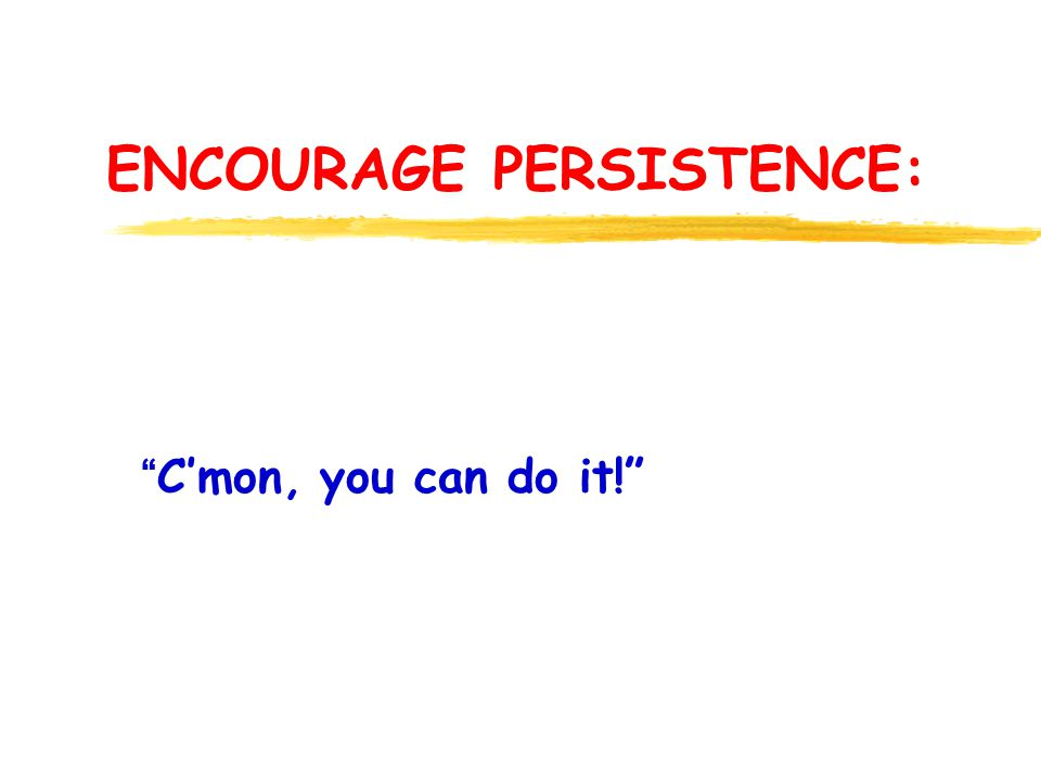 ENCOURAGE PERSISTENCE: Cmon, you can do it!