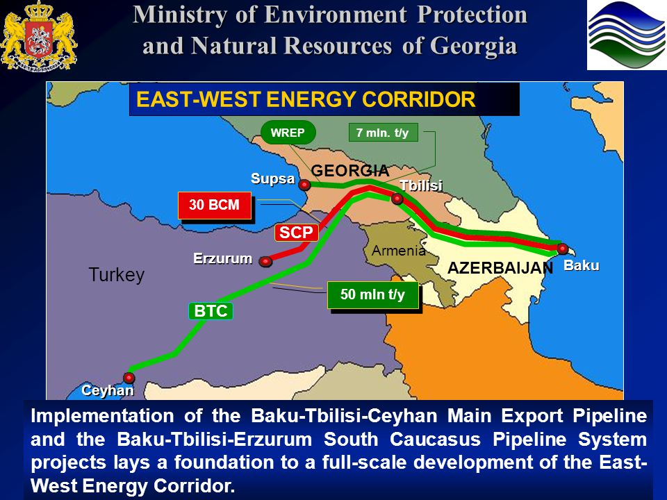 Turkey GEORGIA Russia Armenia AZERBAIJAN Supsa Baku 50 mln t/y 30 BCM BTC SCP Ceyhan Erzurum Tbilisi Implementation of the Baku-Tbilisi-Ceyhan Main Export Pipeline and the Baku-Tbilisi-Erzurum South Caucasus Pipeline System projects lays a foundation to a full-scale development of the East- West Energy Corridor.