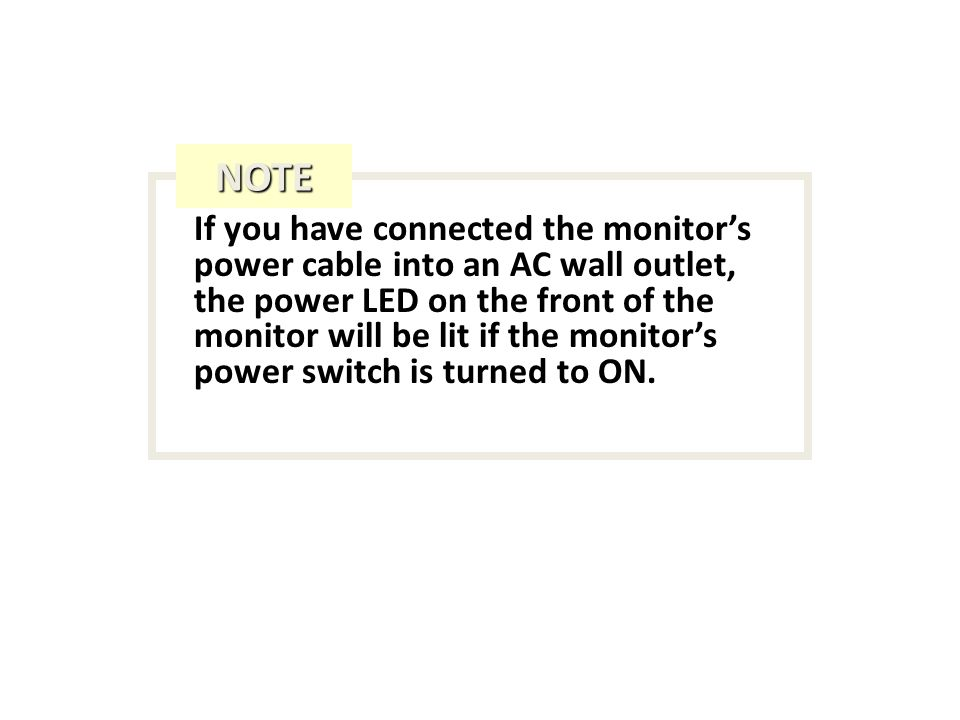 If you have connected the monitors power cable into an AC wall outlet, the power LED on the front of the monitor will be lit if the monitors power switch is turned to ON.