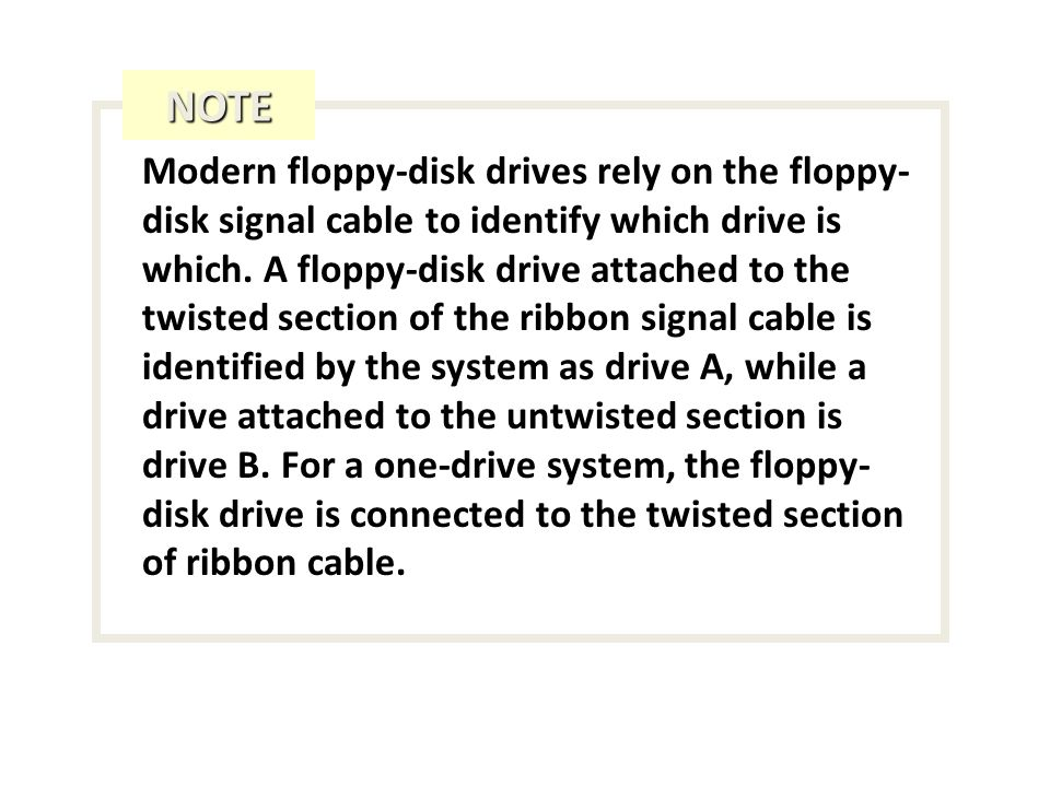 Modern floppy-disk drives rely on the floppy- disk signal cable to identify which drive is which.