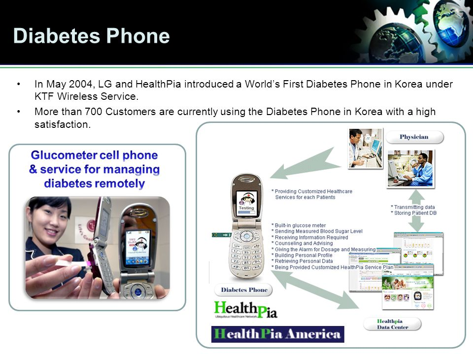 Diabetes Phone In May 2004, LG and HealthPia introduced a Worlds First Diabetes Phone in Korea under KTF Wireless Service.