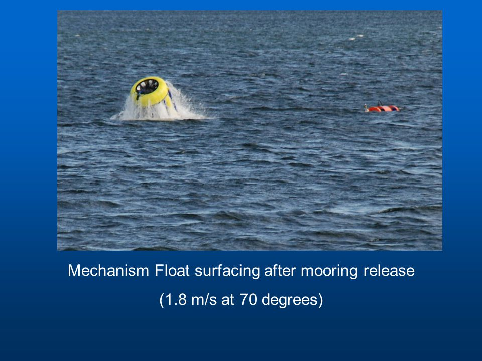 Mechanism Float surfacing after mooring release (1.8 m/s at 70 degrees)