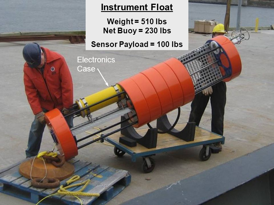 Seabird MP-52 CTD with O2 AquaDopp Current Meter Benthos Acoustic Modem Instrument Float Weight = 510 lbs Net Buoy = 230 lbs Sensor Payload = 100 lbs Electronics Case