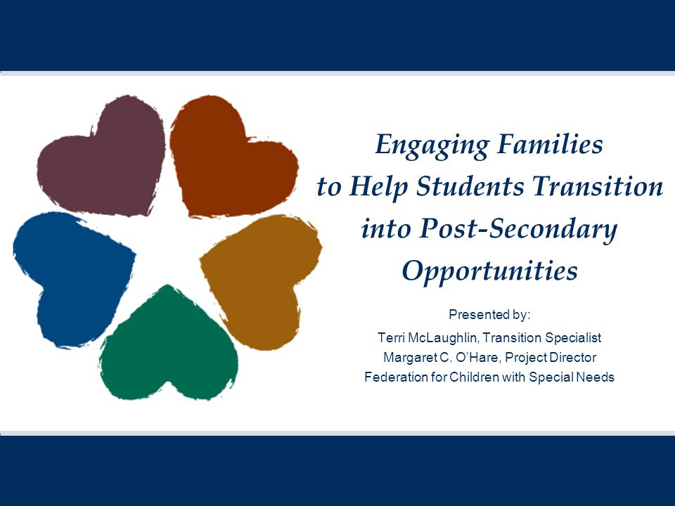 Engaging Families to Help Students Transition into Post-Secondary Opportunities Presented by: Terri McLaughlin, Transition Specialist Margaret C.