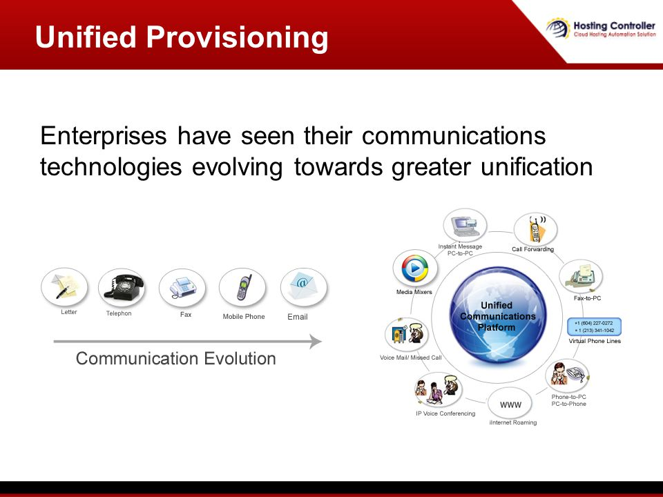Unified Provisioning Enterprises have seen their communications technologies evolving towards greater unification