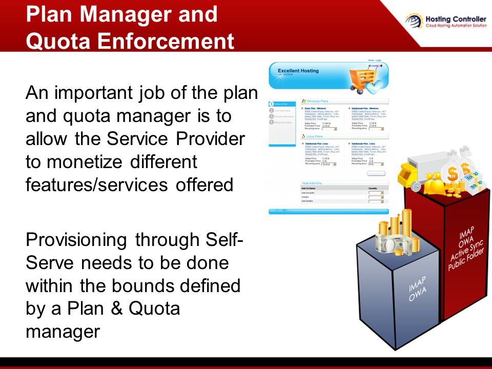 An important job of the plan and quota manager is to allow the Service Provider to monetize different features/services offered Provisioning through Self- Serve needs to be done within the bounds defined by a Plan & Quota manager Plan Manager and Quota Enforcement