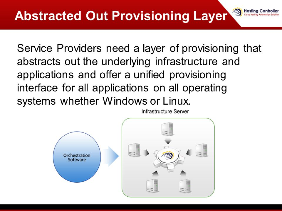 Service Providers need a layer of provisioning that abstracts out the underlying infrastructure and applications and offer a unified provisioning interface for all applications on all operating systems whether Windows or Linux.