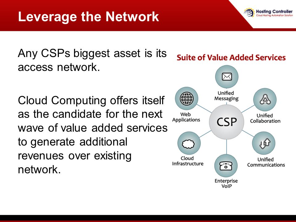 Leverage the Network Any CSPs biggest asset is its access network.