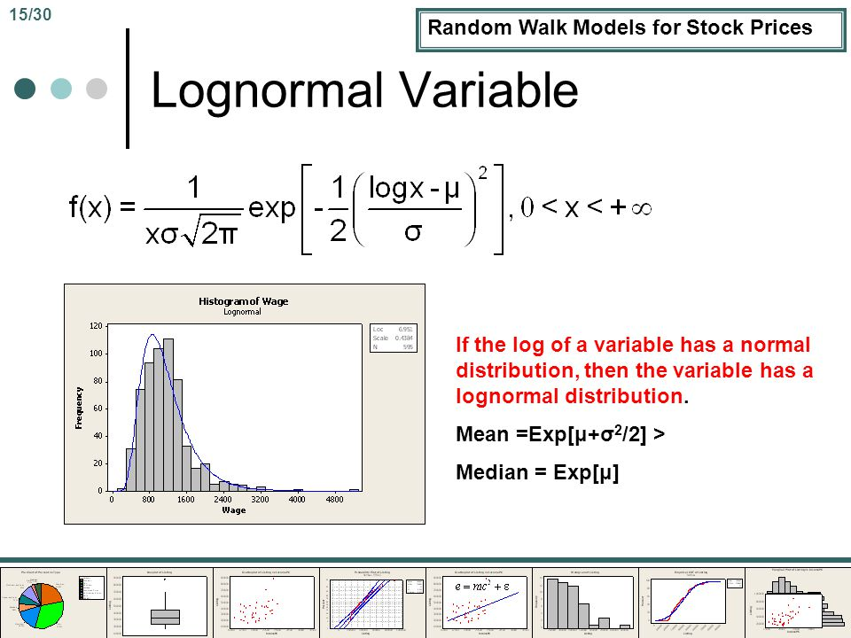 Random Walk Models for Stock Prices Lognormal Variable If the log of a variable has a normal distribution, then the variable has a lognormal distribution.