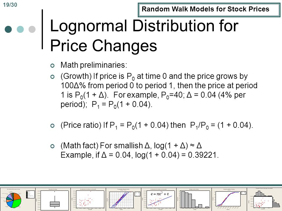 Random Walk Models for Stock Prices Lognormal Distribution for Price Changes Math preliminaries: (Growth) If price is P 0 at time 0 and the price grows by 100Δ% from period 0 to period 1, then the price at period 1 is P 0 (1 + Δ).