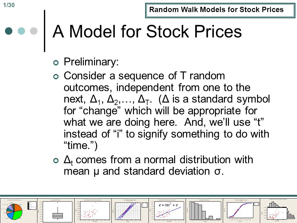 A Model for Stock Prices Preliminary: Consider a sequence of T random outcomes, independent from one to the next, Δ 1, Δ 2,…, Δ T.