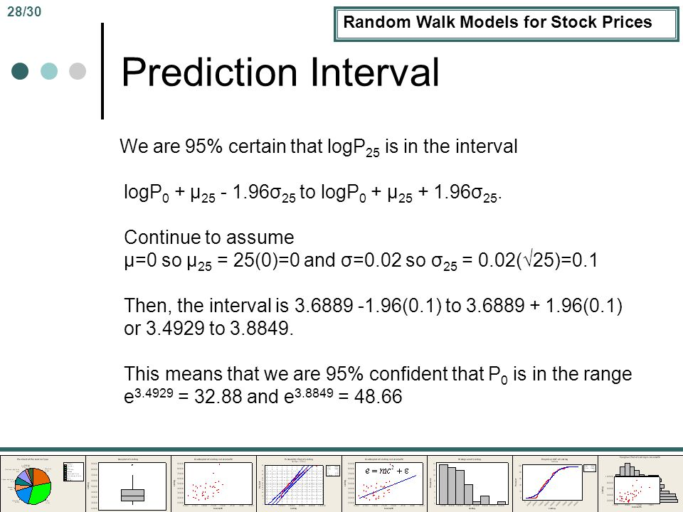 Random Walk Models for Stock Prices Prediction Interval We are 95% certain that logP 25 is in the interval logP 0 + μ 25 - 1.96σ 25 to logP 0 + μ 25 + 1.96σ 25.