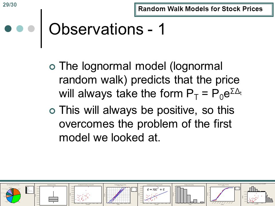 Random Walk Models for Stock Prices Observations - 1 The lognormal model (lognormal random walk) predicts that the price will always take the form P T = P 0 e ΣΔ t This will always be positive, so this overcomes the problem of the first model we looked at.