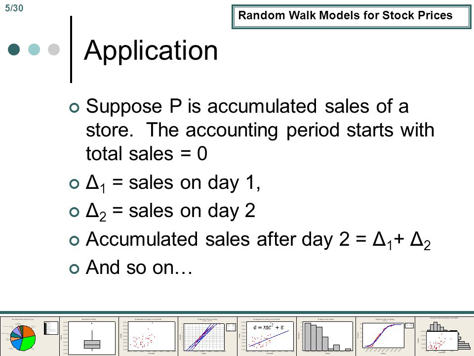 Random Walk Models for Stock Prices Application Suppose P is accumulated sales of a store.