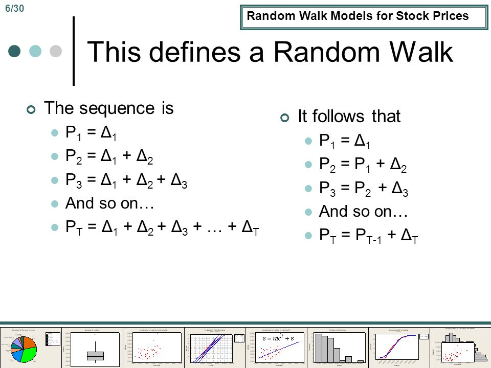 Random Walk Models for Stock Prices This defines a Random Walk The sequence is P 1 = Δ 1 P 2 = Δ 1 + Δ 2 P 3 = Δ 1 + Δ 2 + Δ 3 And so on… P T = Δ 1 + Δ 2 + Δ 3 + … + Δ T It follows that P 1 = Δ 1 P 2 = P 1 + Δ 2 P 3 = P 2 + Δ 3 And so on… P T = P T-1 + Δ T 6/30