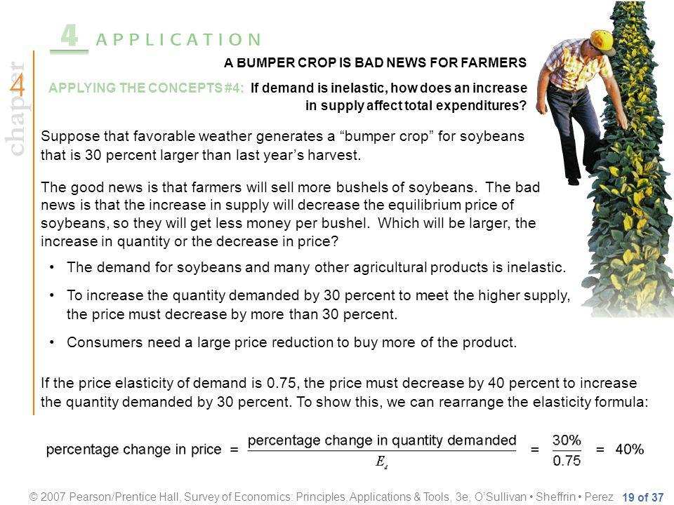 chapter © 2007 Pearson/Prentice Hall, Survey of Economics: Principles, Applications & Tools, 3e, OSullivan Sheffrin Perez 19 of 37 A BUMPER CROP IS BAD NEWS FOR FARMERS APPLYING THE CONCEPTS #4: If demand is inelastic, how does an increase in supply affect total expenditures.
