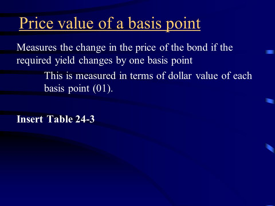 Measures of price volatility The two most popular measures of price volatility are: Price value of a basis point Duration