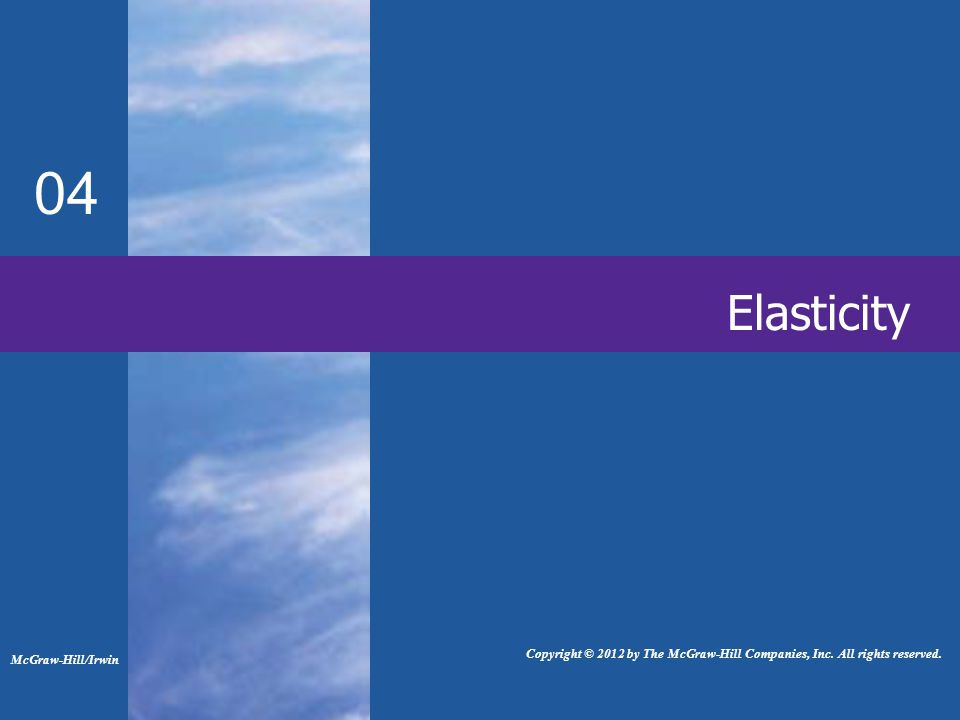 Elasticity 04 McGraw-Hill/Irwin Copyright © 2012 by The McGraw-Hill Companies, Inc.