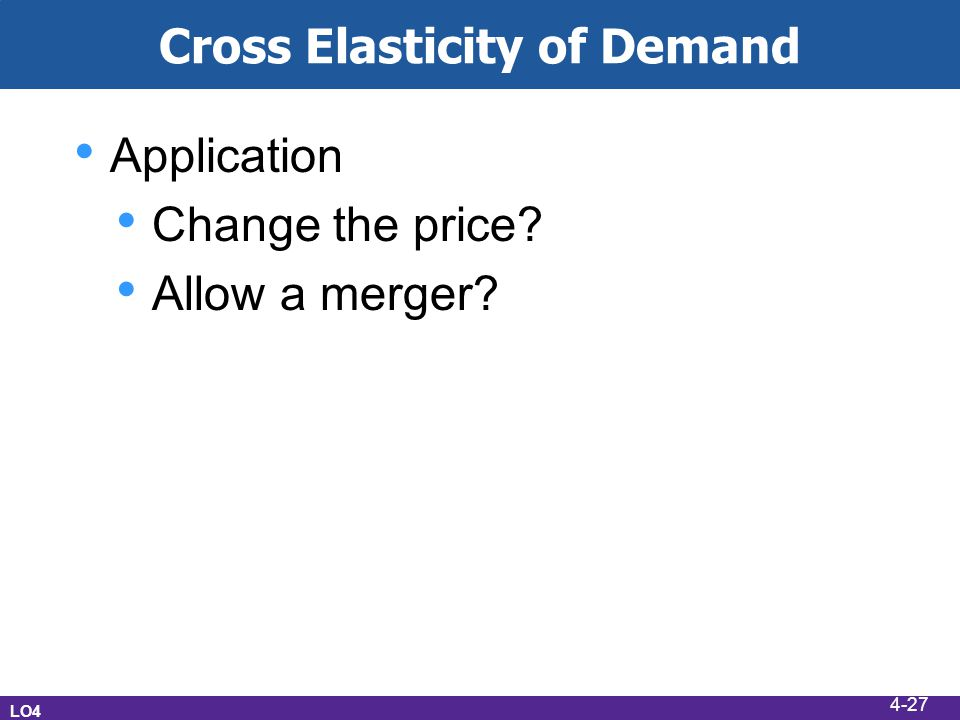 Cross Elasticity of Demand Application Change the price Allow a merger LO4 4-27