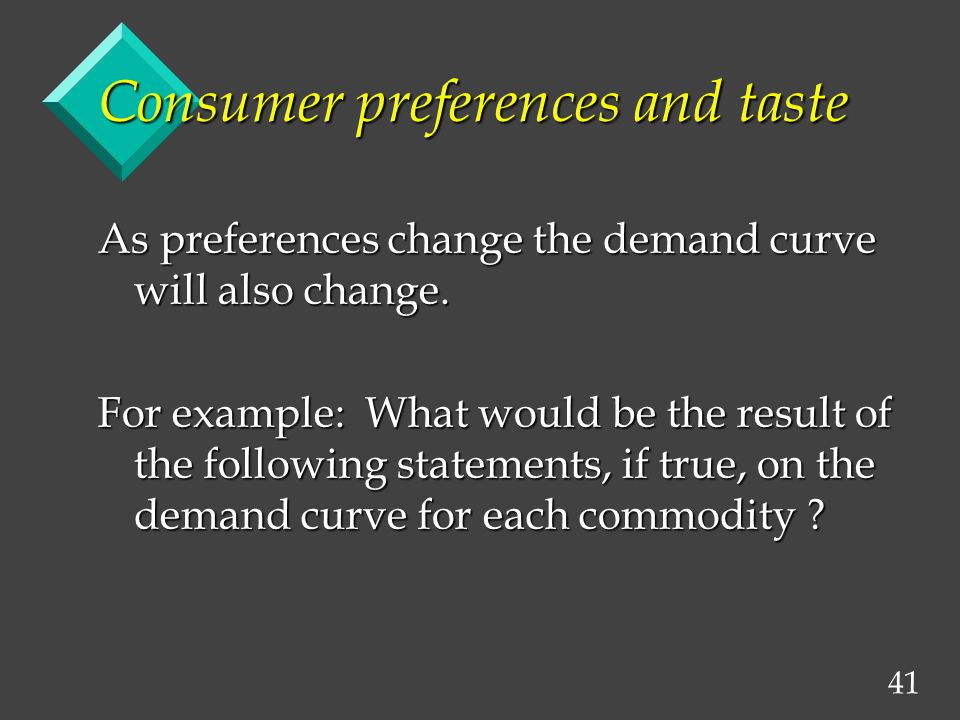 41 Consumer preferences and taste As preferences change the demand curve will also change.