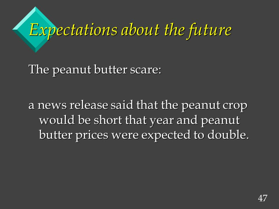47 Expectations about the future The peanut butter scare: a news release said that the peanut crop would be short that year and peanut butter prices were expected to double.