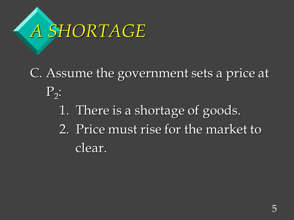 5 A SHORTAGE C. Assume the government sets a price at P 2 : P 2 : 1.
