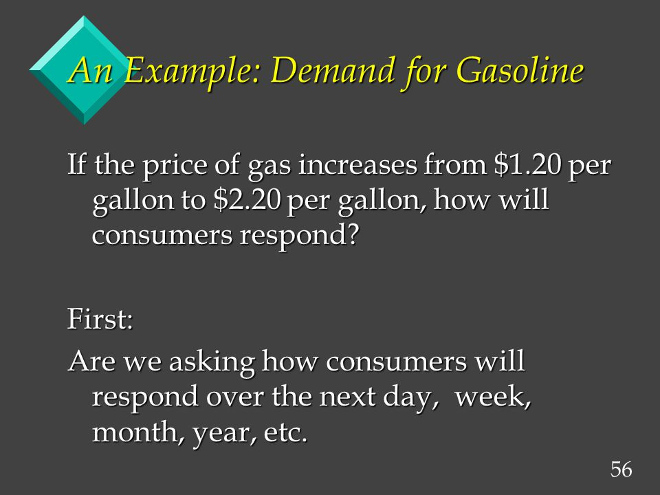 56 An Example: Demand for Gasoline If the price of gas increases from $1.20 per gallon to $2.20 per gallon, how will consumers respond.