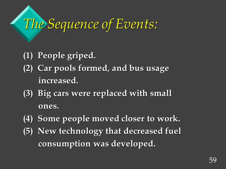 59 The Sequence of Events: (1) People griped. (2) Car pools formed, and bus usage increased.