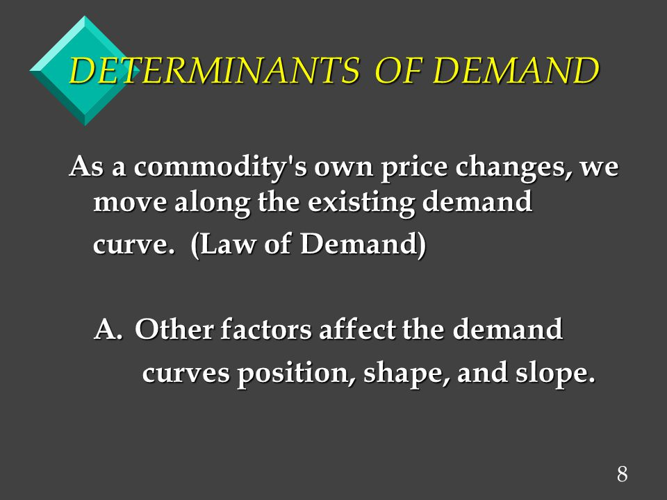 8 DETERMINANTS OF DEMAND As a commodity s own price changes, we move along the existing demand curve.