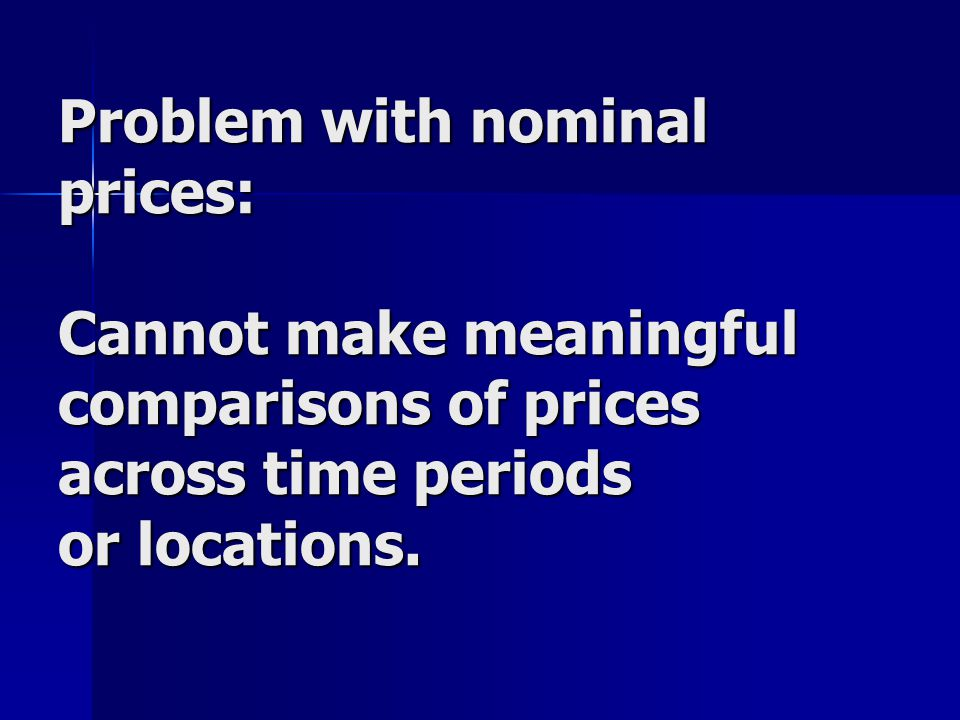 Problem with nominal prices: Cannot make meaningful comparisons of prices across time periods or locations.