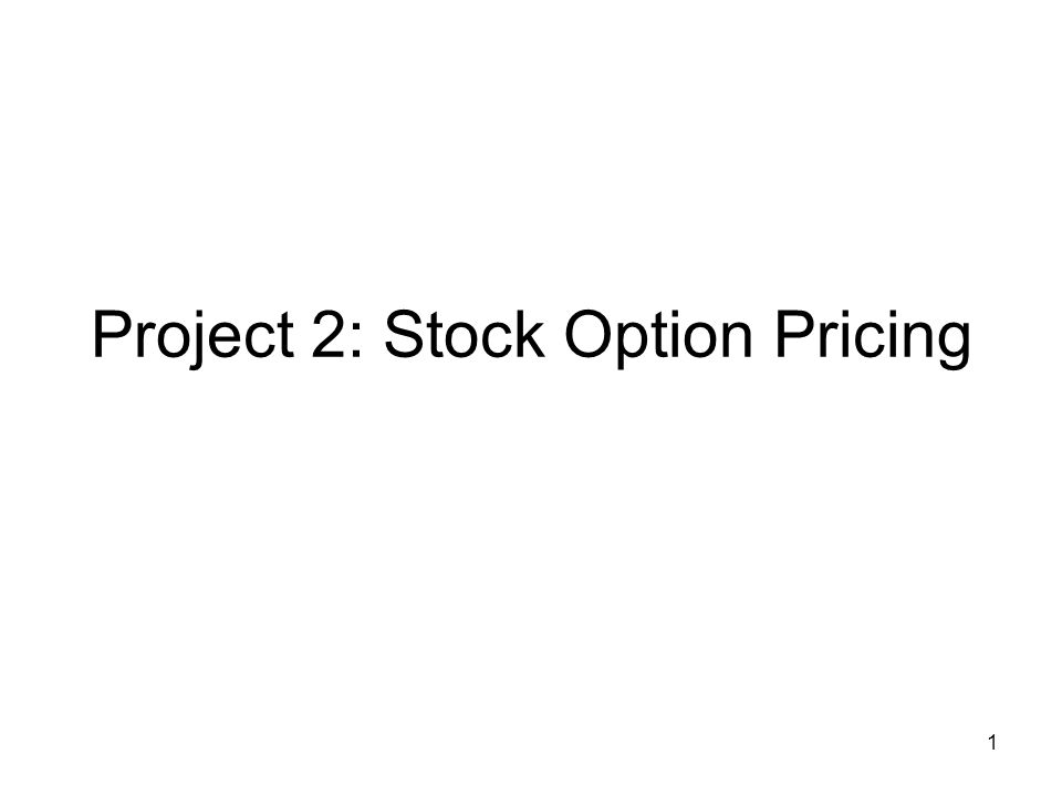 1 Project 2: Stock Option Pricing