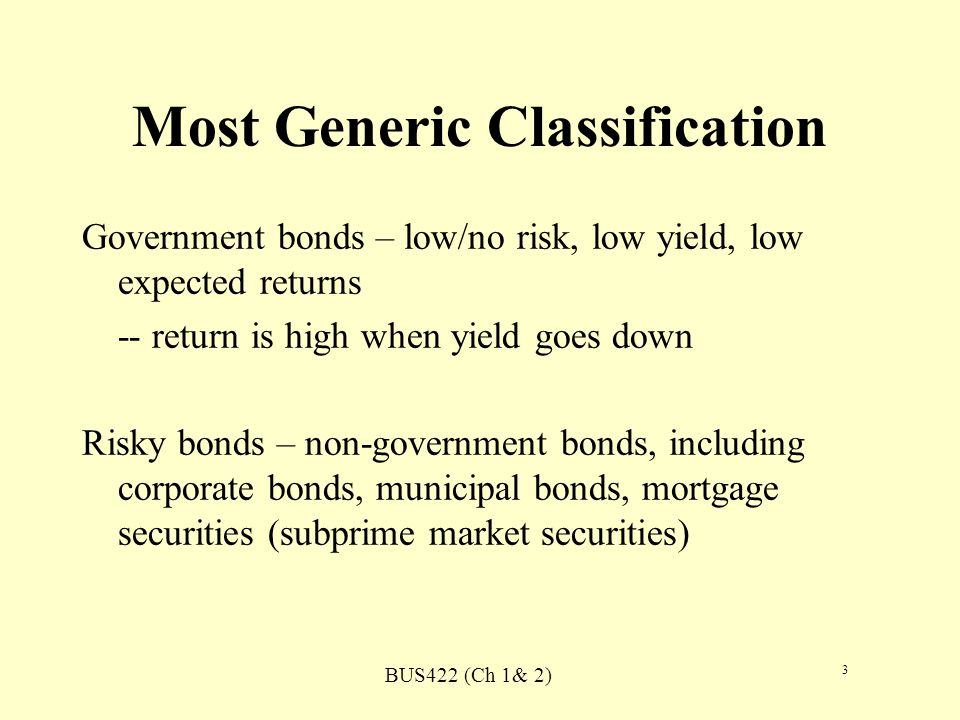 BUS422 (Ch 1& 2) 3 Most Generic Classification Government bonds – low/no risk, low yield, low expected returns -- return is high when yield goes down Risky bonds – non-government bonds, including corporate bonds, municipal bonds, mortgage securities (subprime market securities)